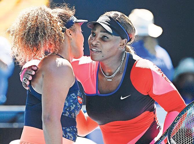 Serena Williams congratulates Naomi Osaka after the Australian Open Semi-final